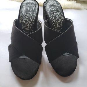 DV Dolce Vita Black Suede Sandals Heels